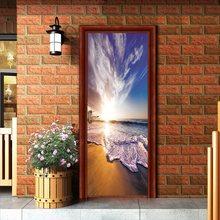 77x200 см наклейка на дверь с зеленым листом домашний декор красивые декорации клейкие водонепроницаемые обои для спальни наклейка-фреска для...(Китай)