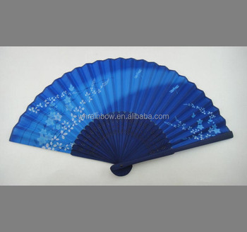 elegant silk hand fan wedding favors WITH BLUE BAMBOO