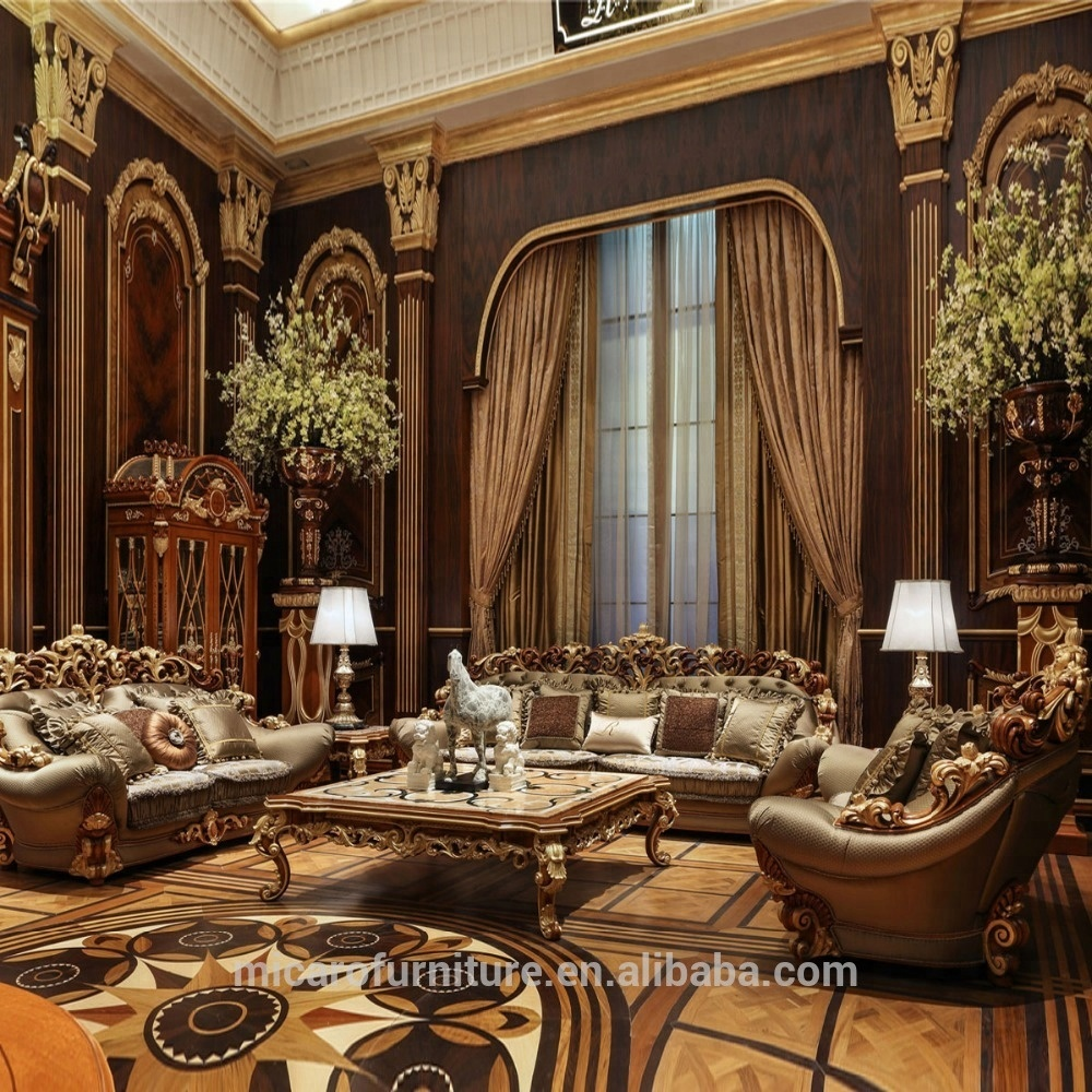 Wooden Carved Italian Classic Style Luxury Living Room Furniture Sofa Sets With Natural Mable Top Coffee Table View Living Room Furniture Sofa Sets Micaro Product Details From Foshan Micaro Furniture And Decoration