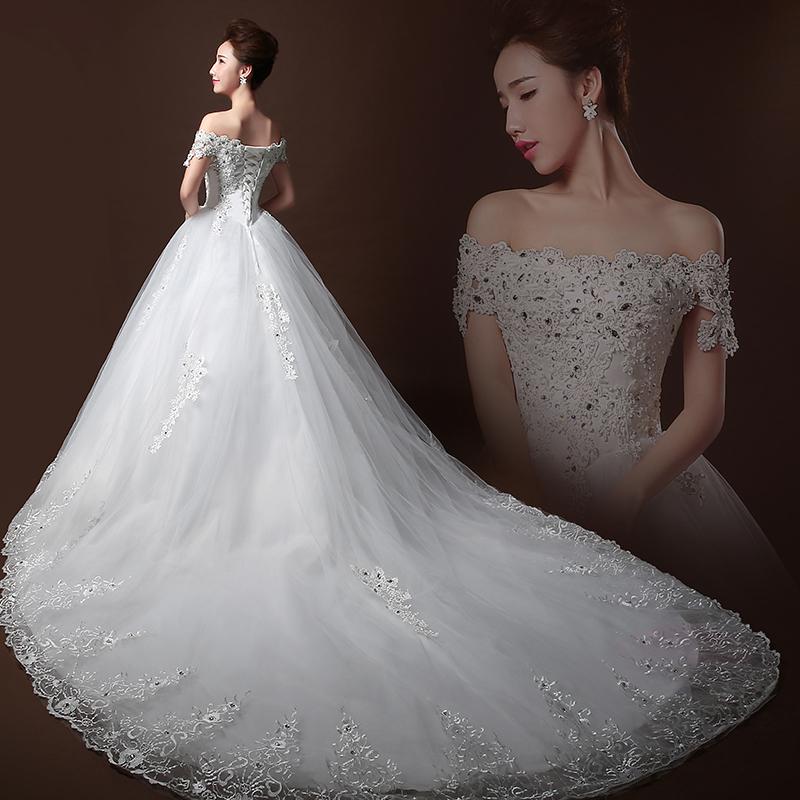 Luxury Long Big Train Tube Top Crystal Wedding Dress 2015
