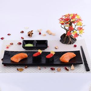 High quality cheap boat shape japanese korean style restaurant black rectangular snack sushi serving melamine ware dish plate