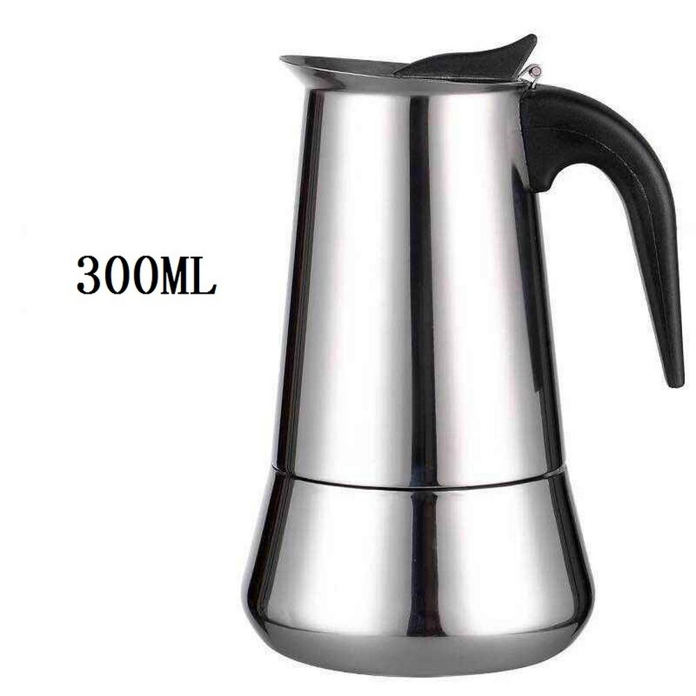 Портативная кофеварка эспрессо, гейзерная Кофеварка из нержавеющей стали, чайник для Pro Barista 100 мл/200 мл/300 мл/450 мл(Китай)