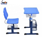 Single height adjustable school desk and chairs