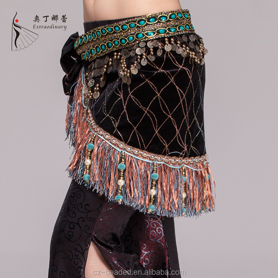 J01008 charming belly dance tribal coins belt belly dance velvet half circle gypsy belt