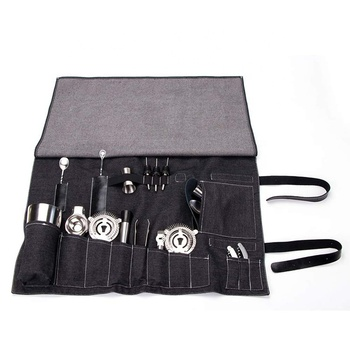 Cocktail Bar Big Barware Professional Tool Set Storage Pouch Kit Roll Up Bag Tote Carrier Portable Shoulder Strap Bartender Bag