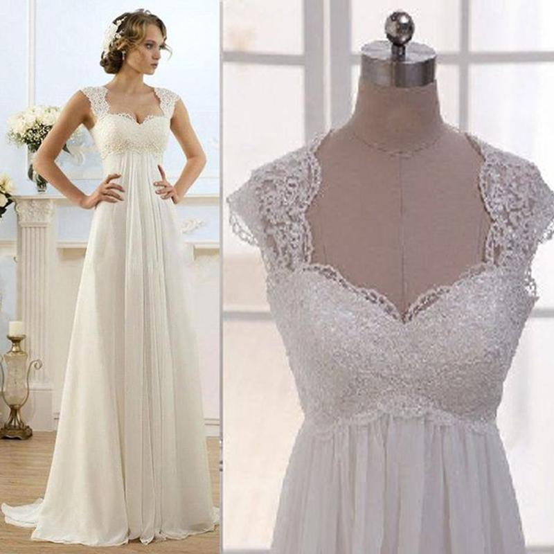 Vintage Style Lace Wedding Dresses: Vintage Wedding Dress Beach Chiffon A Line Empire Waist