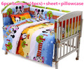 Promotion 6 7PCS Mickey Mouse 100 cotton Baby bedding sets 6 piece set duvet cover crib