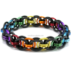 Stainless Steel Chainmail Bracelet Diy Black Rainbow Stretch Bracelet - Chainmail Rubber Metal Stretch Bracelet