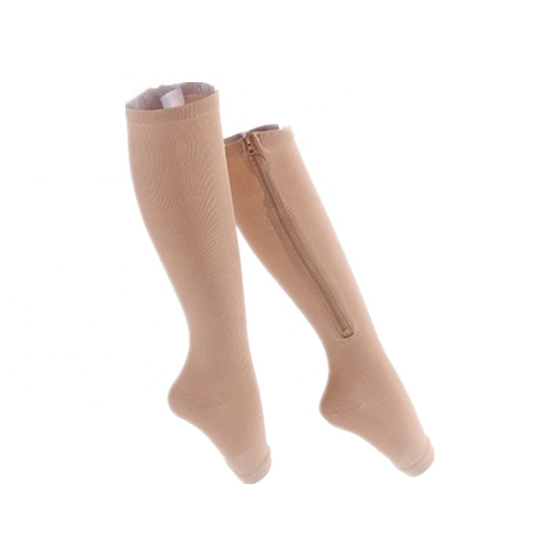 Wholesale Custom Medical Open Toe Athletic Zipper Compression Socks for Varicose Veins