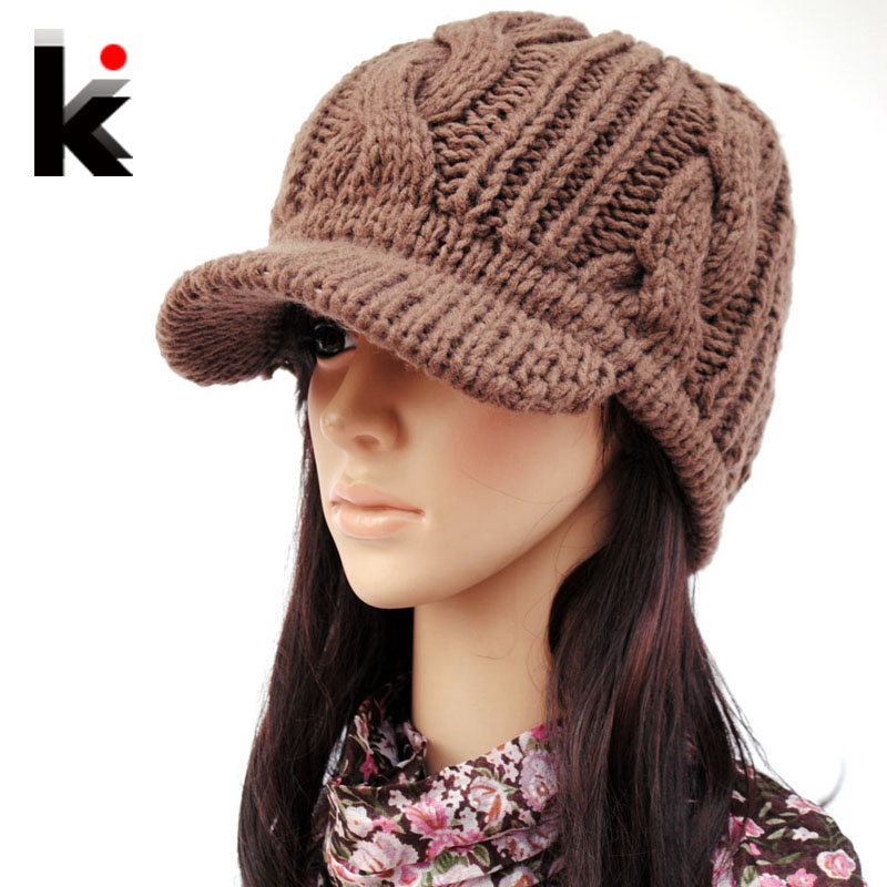 Winter knitted hat wide brim quality female knitted hat ...