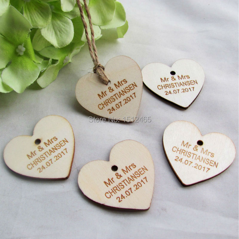 100 Pcs Personalized Custom Engraved Wedding Name And Date Love