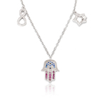 Vantage 925 Silver Hand of Fatima Necklace Cubic Zirconia with Pink and Blue Stone Jewelry