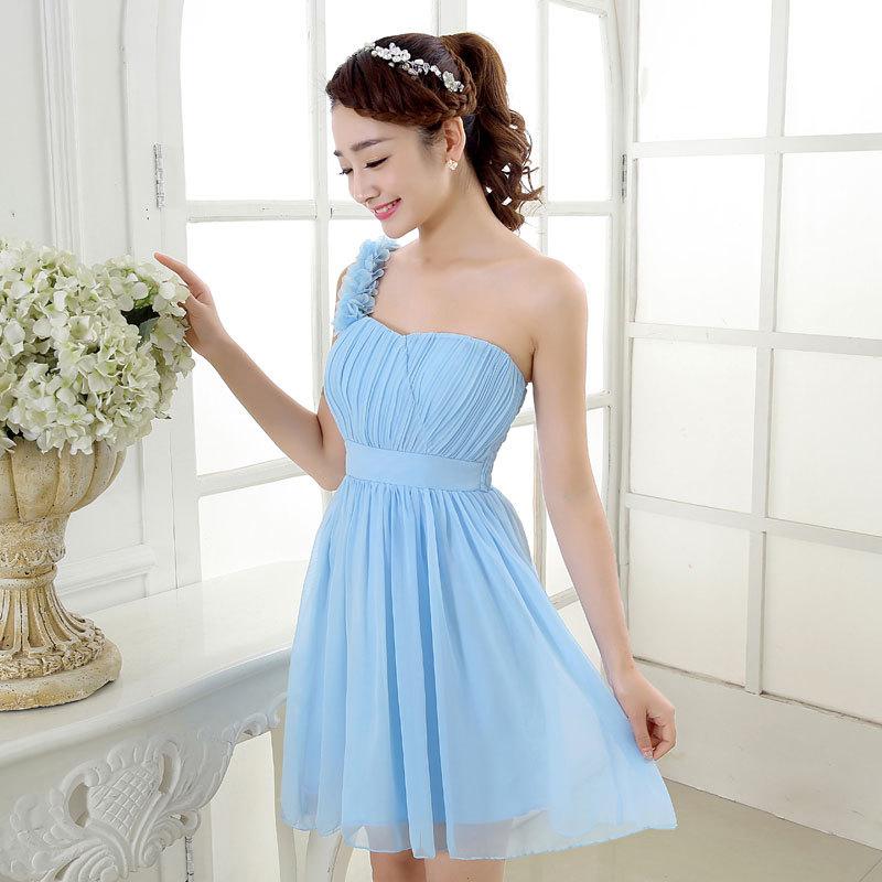 Wholesale 2016 New Bride Evening Dress Vintage Shoulder: 4pcs/lot Wholesale 2016 New Short Pink One Shoulder
