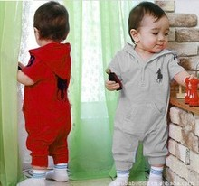 Retail Hooded Baby Romper 100 Cotton Short Sleeves Infant Jumusuit Boys Girls Overall Kids Rompers Children
