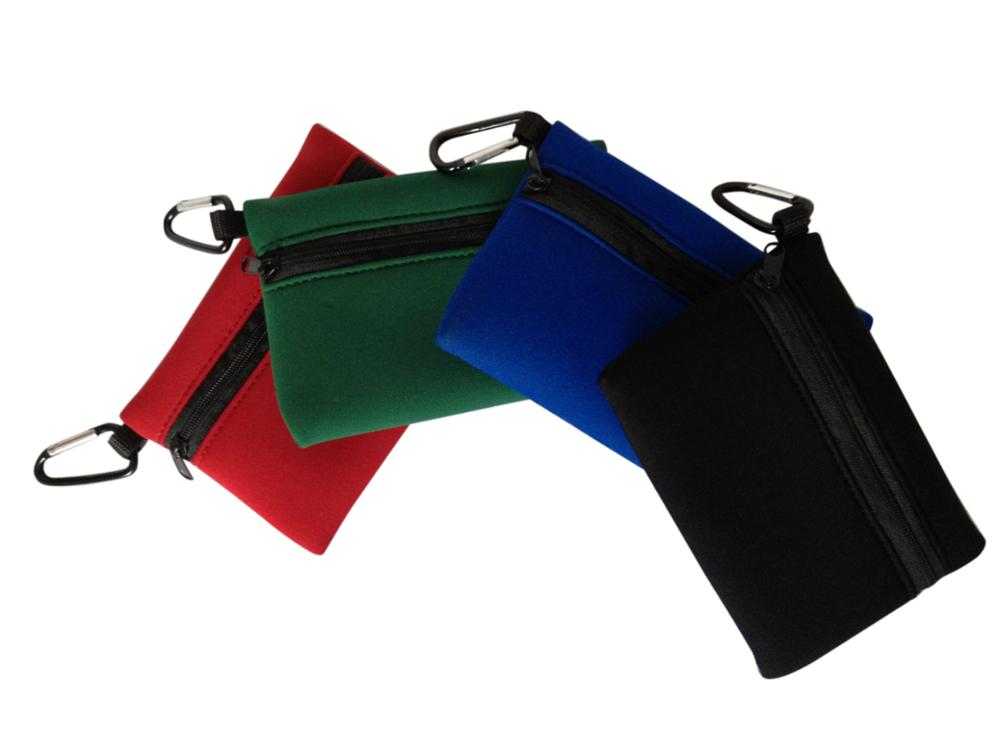 Custom logo printed neoprene pencil pouch with carabiner