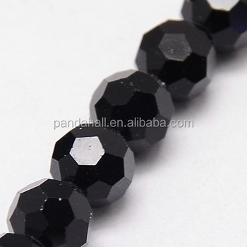 Pandahall 4mm Round Faceted Crystal Black Glass Ball Bead