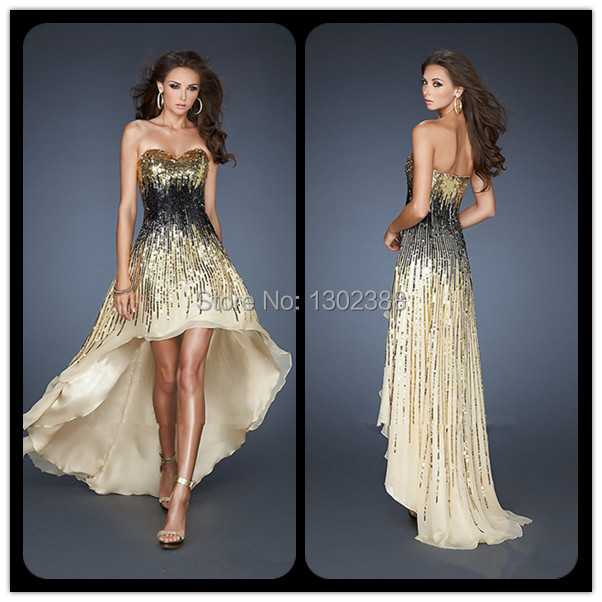 Sparkly gold prom dress