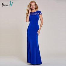 Dressv темно-синее вечернее платье Дешевые Русалка с короткими рукавами с круглым вырезом Свадебные вечерние платья(Китай)