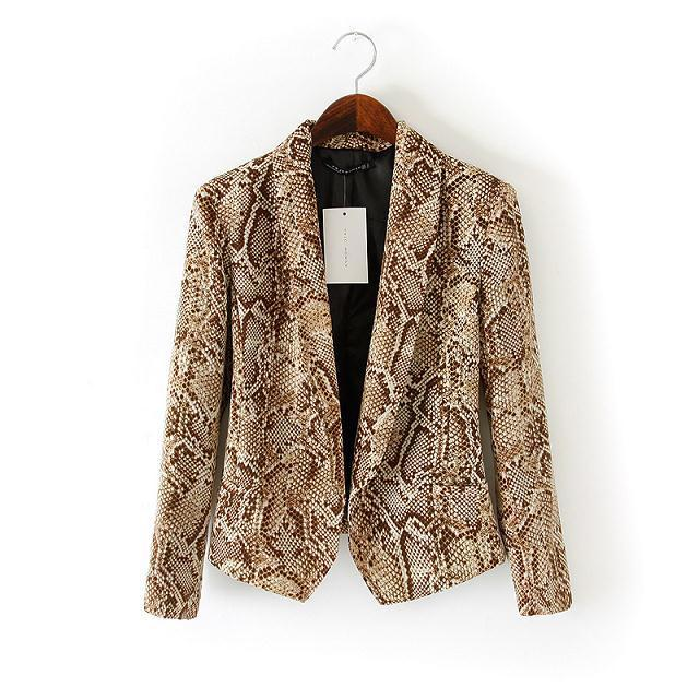 63ed9131 Fashion Women Blazer Ladies' Elegant Snake Print Long Sleeve Blazers And  Jackets Womens Outwear Suits