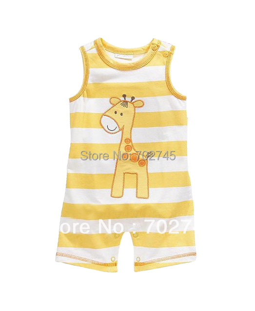 Baby Rompers 7233 Yellow Stripe Boy Sleeveless Jumpsuits Infants Wears Kid Clothes