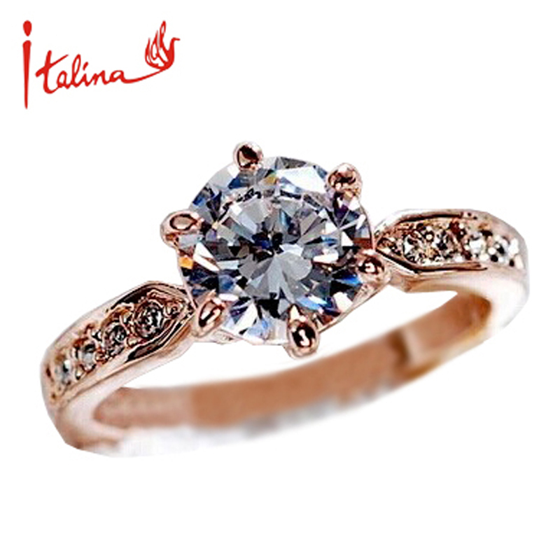 b9a6387333 Italina 7.5mm CZ Diamond Jewelry Wedding Rings for women 925 sterling silver  Jewelry Engagement ring