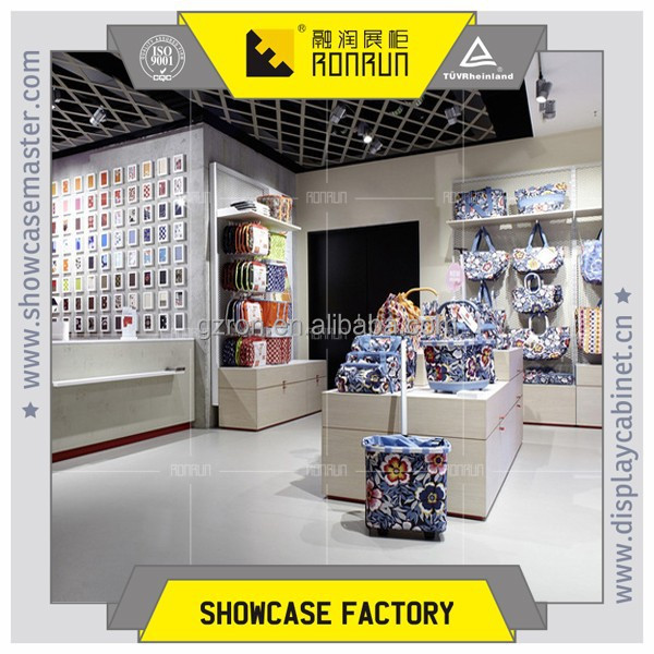 Newest promotion! travel bag and cloth bag display showcase and cashier for fashion bag shop franchise sells