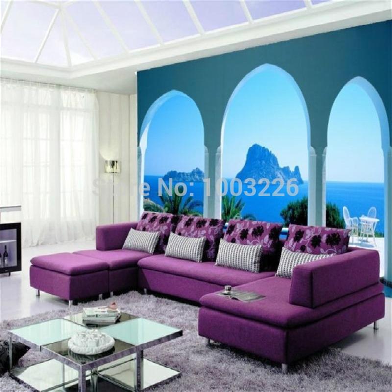 Blue Mediterranean style New large wallpaper Custom wallpaper marble font b pillar b font buildings 3D - Feuerfeste Tapete