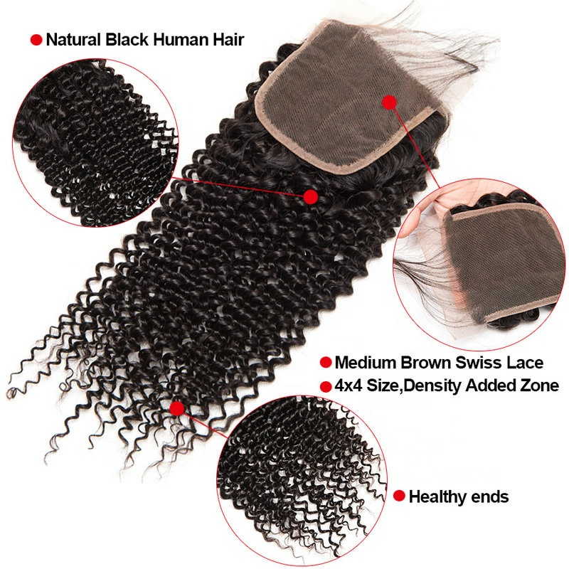 wholesale virgin hair vendors cheap 100% human hair unprocessed kinky curly 4*4 lace closure