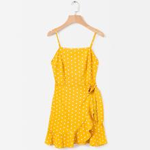 bde3255063 2018 Women Boho Beach Yellow Polka Dot Casual Sundress Female Summer  Clothes For Women Backless Strapless