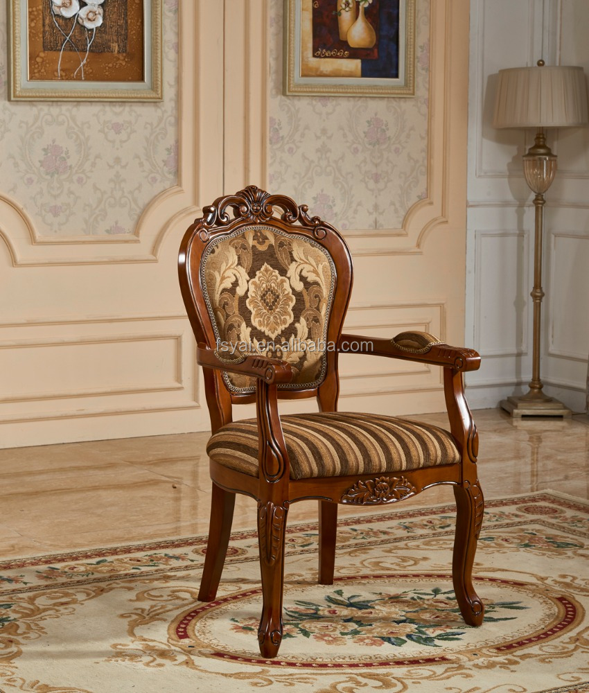 french living room luxury curved back vintage solid wood dining chair