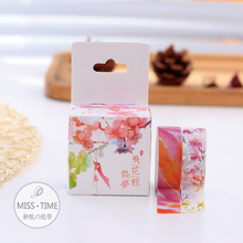 2pcs Gouache Flowers Japanese Washi Tape 15MM * 10M Decorative Scotch Tape Papelaria For Scrapbooking Stickers Diy Washitape