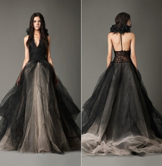 Discount Vintage Black Gothic Wedding Dresses A Line: Vintage Tulle Long Black Gothic Wedding Dresses Victorian