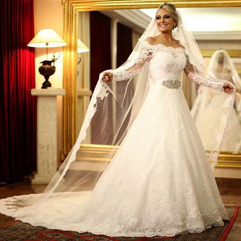 Elegant Simple Long Sleeve Wedding Dresses With Lace 2015: 2015 Royal Lace Wedding Dresses Elegant Long Sleeve Bride
