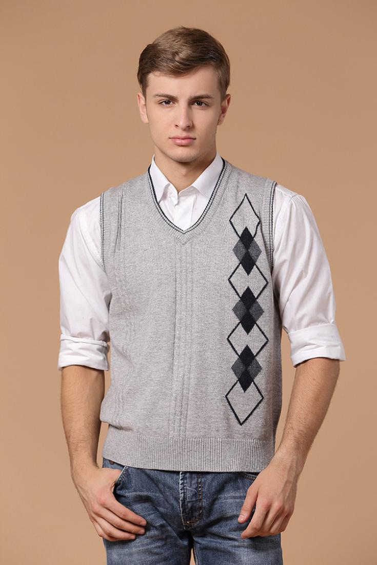 Аутентичные свободного покроя мужчины в кашемир вязать свитер жилет с v-образным вырезом свитер жилет