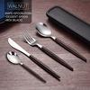 Walnut- knife, fork, spoon, dessert spoon, box(black)