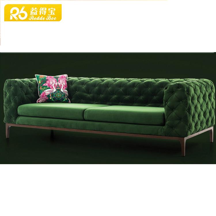Секционный диван из голубой стеганной Ткани в стиле chesterfield, Китай