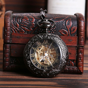Antique hollow Black Manual Wind Hand Winding mechanical Retro Mechanical pocket watch