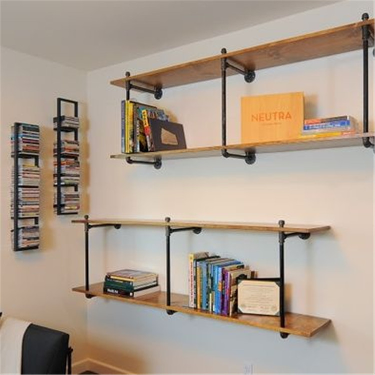 American Country Wrought Iron Wood Wall Mount Pipe Storage