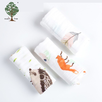 Muslin tree baby 28*26cm printed newborn 100% cotton baby bath towel