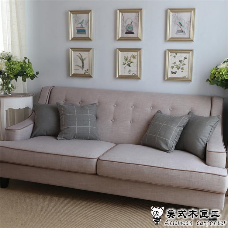 American Country Wood Washable Fabric Sofa Minimalist Ikea