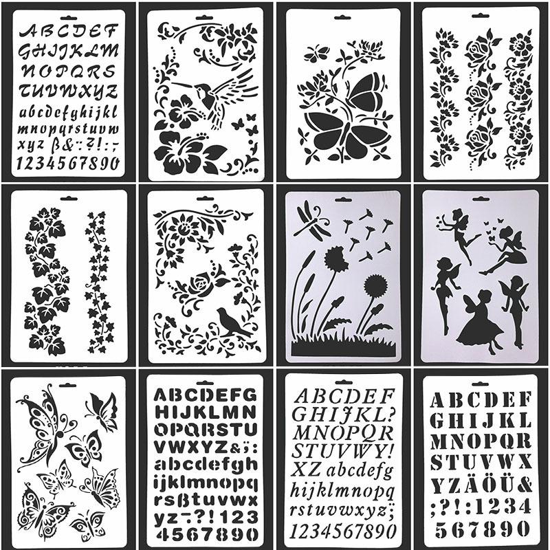 Трафареты в новом стиле с алфавитом для журнала, трафареты для украшения, пластиковые трафареты для рисования