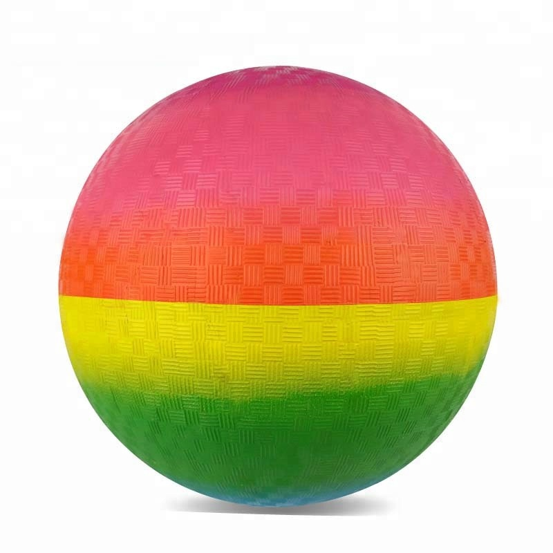 Kids Playing Inflated Natural Rubber Balls Rainbow Playground Ball 8.5
