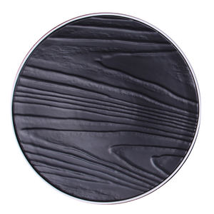Chinese factory products with low MOQ high quality porcelain glazed black round flat plates ceramic