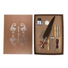1 комплект, винтажная каллиграфическая перьевая ручка, набор чернил для письма, Подарочная коробка с 5 наконечниками, свадебный подарок, пер...(Китай)