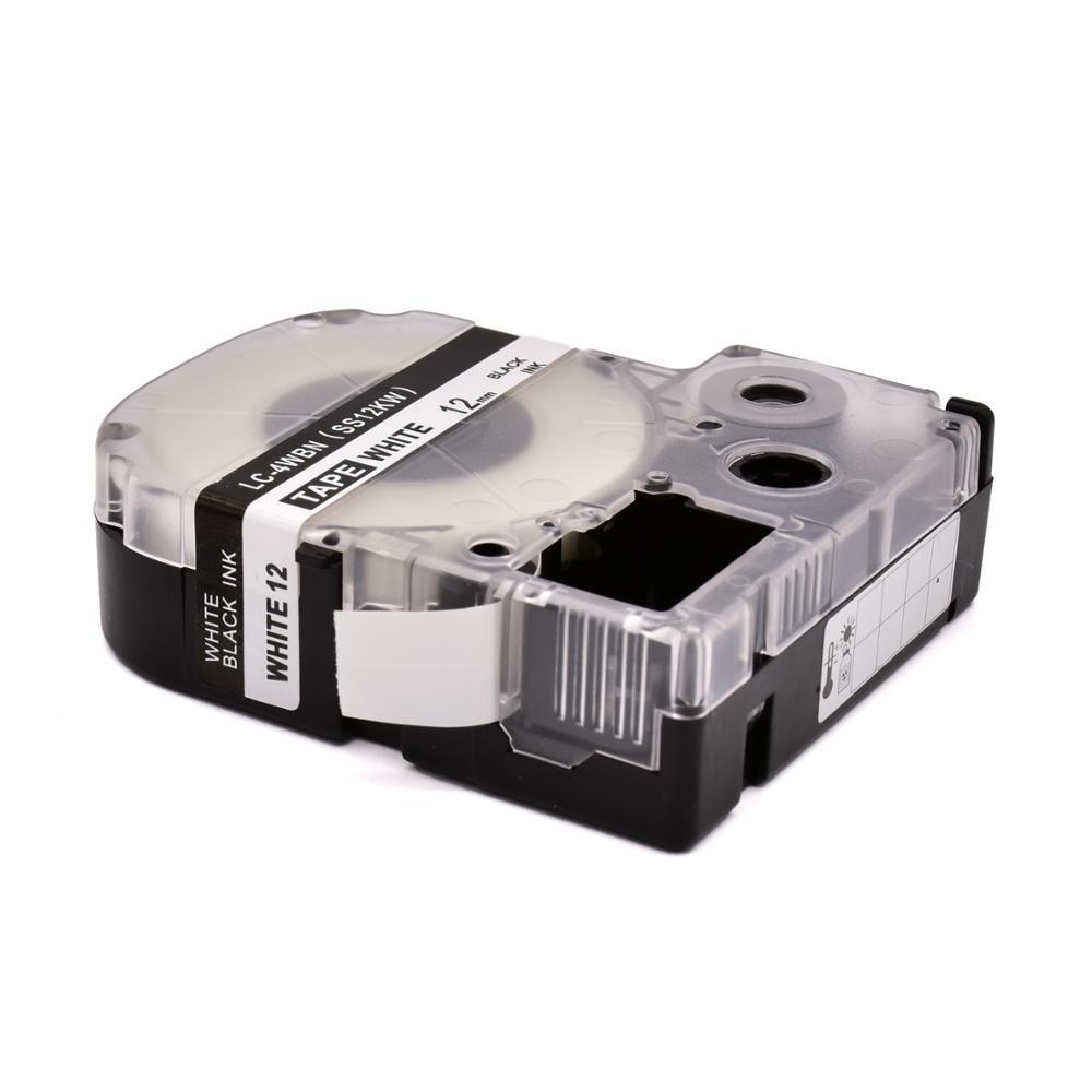 Самая низкая цена, совместимая этикетка PUTY, 12 мм, ламинированные черные на белом SS12KW