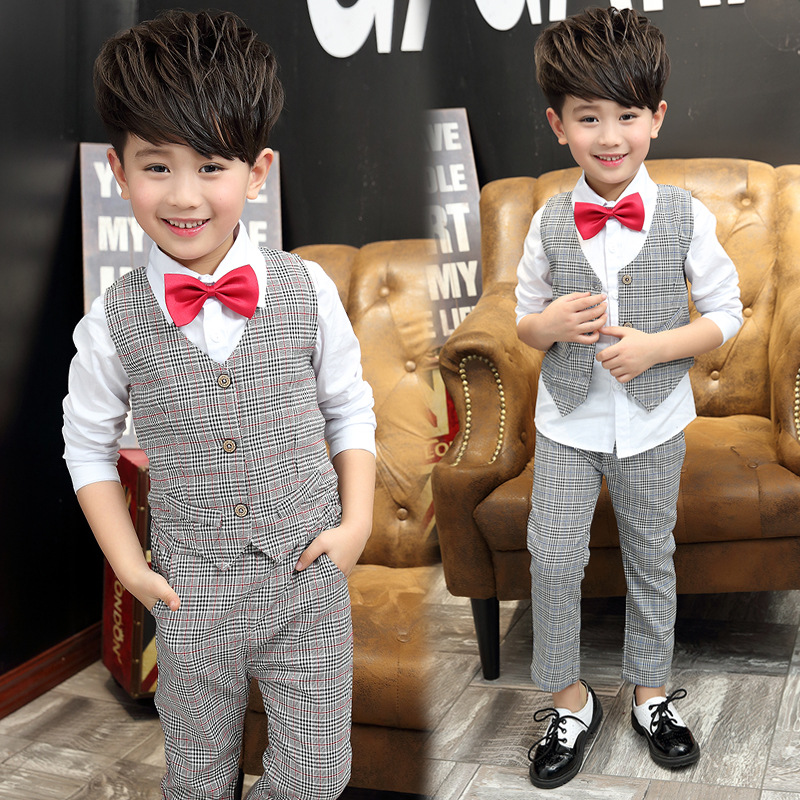 50a86abe335ce Handsome Baby Boys Gentleman Suit Children's Formal Clothing Set Kids  Wedding Party Clothes 3-12Y Baby Boy Suit Kids Vest Pants