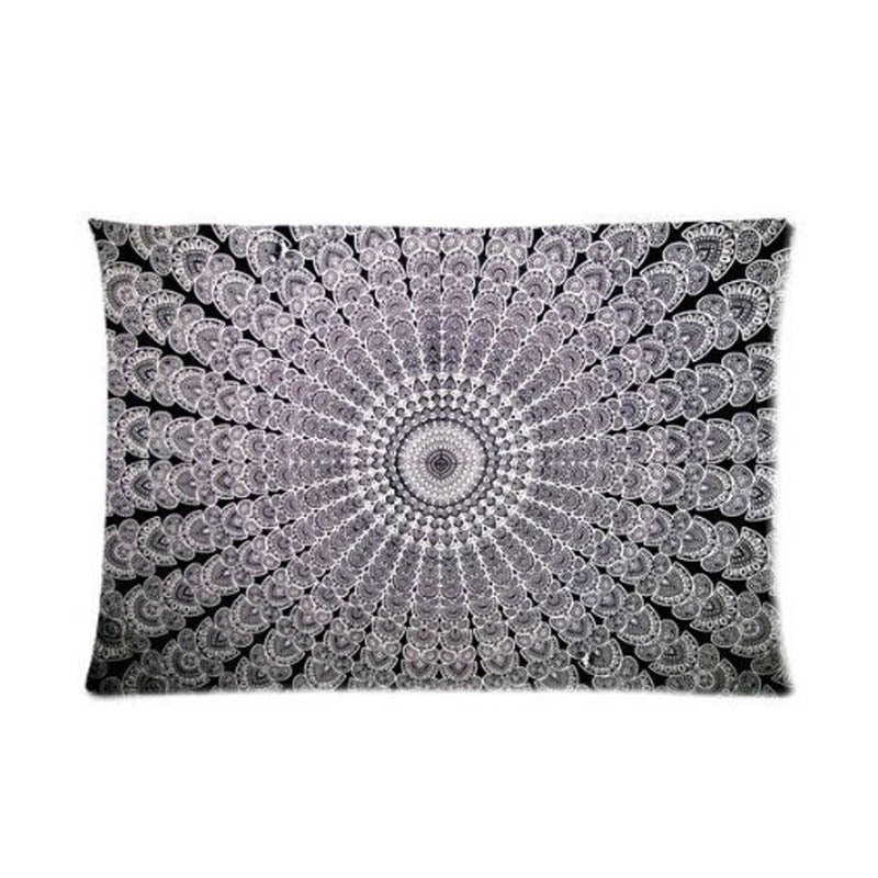 Mandala Tapestry Hippie Tapestries Zippered Standard Custom Rectangle Throw Pillow Cover Invisbile Zipper