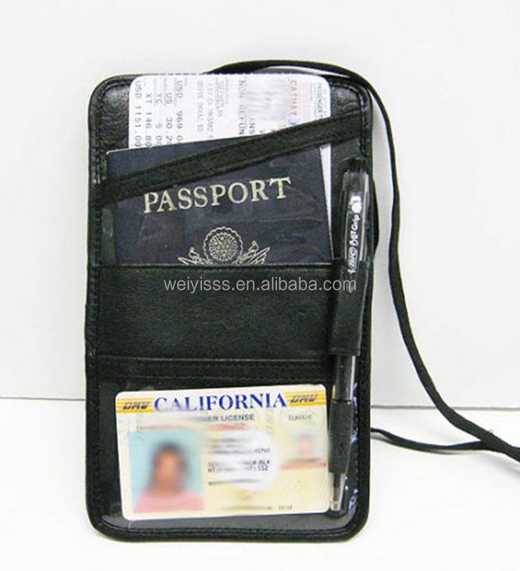 Boarding Pass Id /& Passport Holder Neck Wallet Black in Color