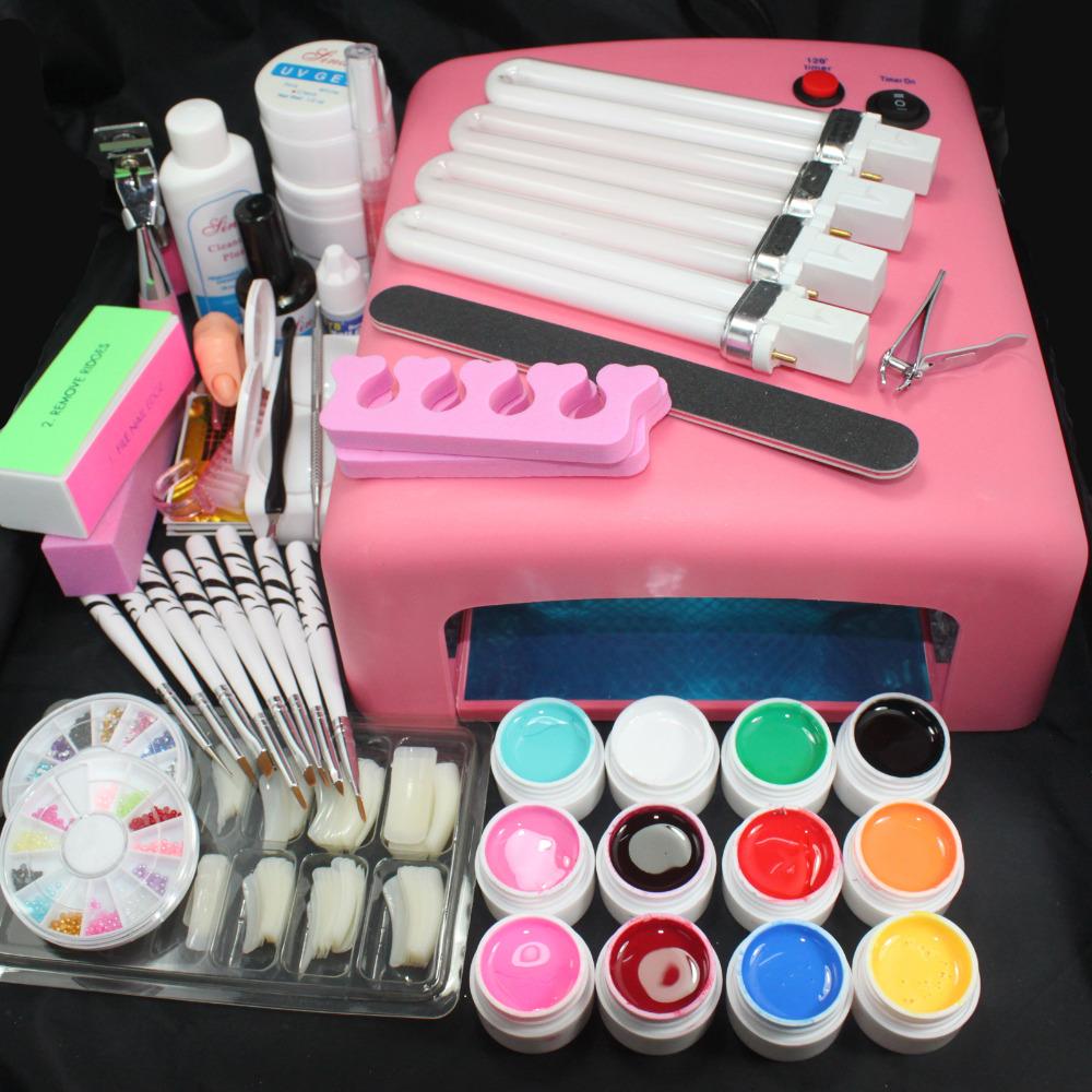 Free Shipping Professional Nail Art Kit Color Uv Gel Full: Pro 36W UV GEL Pink Lamp & 12 Color UV Gel Practice