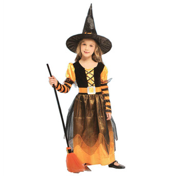 Hot sale Child Cosplay demon costume for kids Halloween Black Witch Cloak with hat